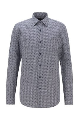 スリムフィットシャツ モノグラムプリント イタリアンコットン, ダークブルー