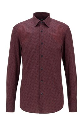 Slim-fit shirt in monogram-print Italian cotton, Light Orange
