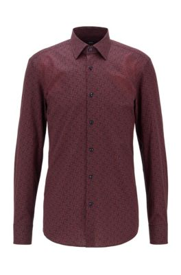 Slim-Fit Hemd aus italienischer Baumwolle mit Monogramm-Print, Hellorange
