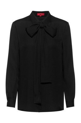Hidden-placket relaxed-fit blouse with bow collar, Black