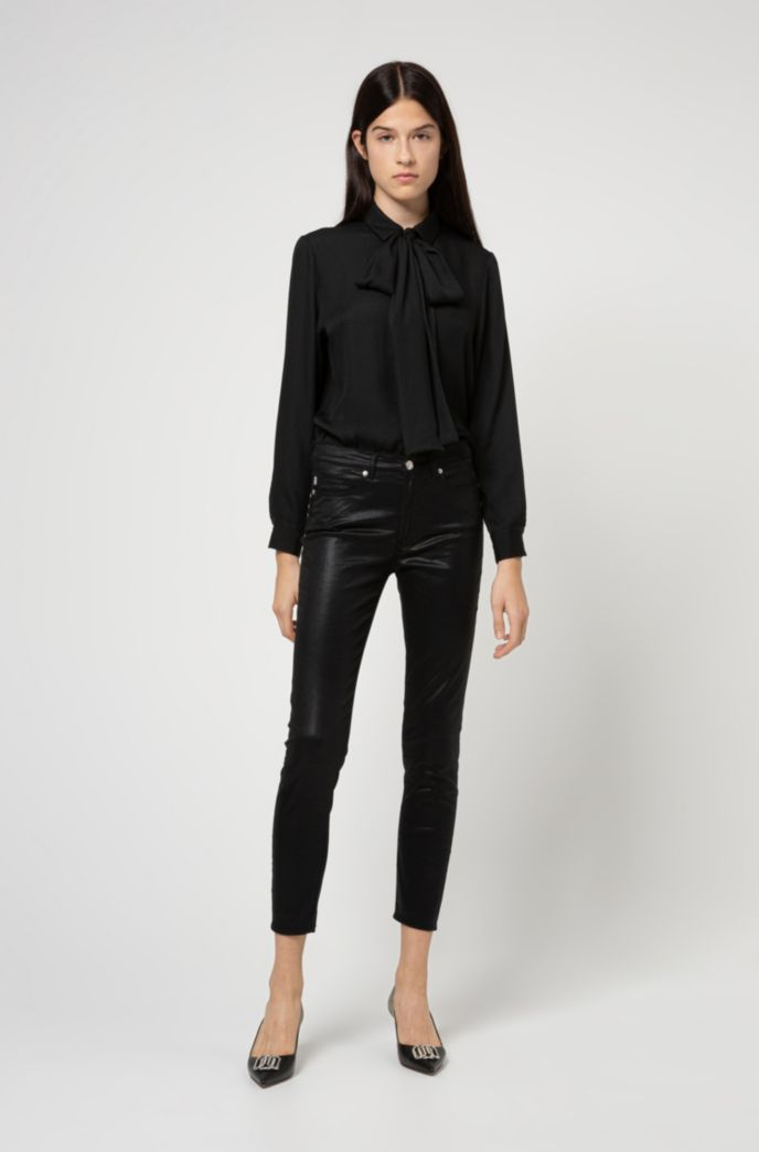Hidden-placket relaxed-fit blouse with bow collar