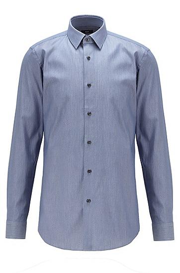 菱形图案装饰棉质修身衬衫,  410_海军蓝色