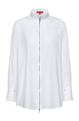 Stretch-poplin relaxed-fit blouse with zip front, White