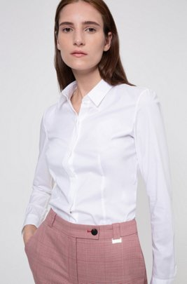 Chemisier Slim Fit en coton stretch à ruban en dentelle, Blanc