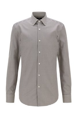 Slim-fit shirt in houndstooth-patterned cotton, Light Green