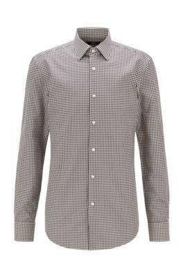Slim-Fit Hemd aus Baumwolle mit Hahnentritt-Muster, Hellgrün