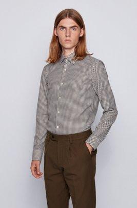 スリムフィットシャツ ハウンドトゥースパターンコットン, ライトグリーン