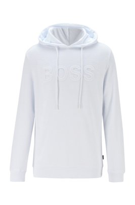 Cotton-blend hooded sweatshirt with embossed logo, White
