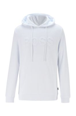 Sweat à capuche en coton mélangé à logo embossé, Blanc