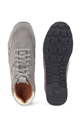 Low-top trainers in suede with contrast details, Grey