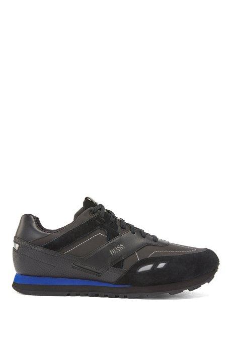 Hybride sneakers met leren garneersels, Zwart