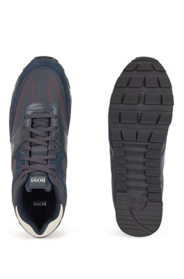 Hybrid trainers with leather trims, Dark Blue