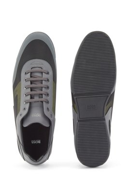 Low-top trainers in mixed materials with logo details, Dark Grey