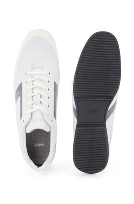 Low-top trainers in mixed materials with logo details, White
