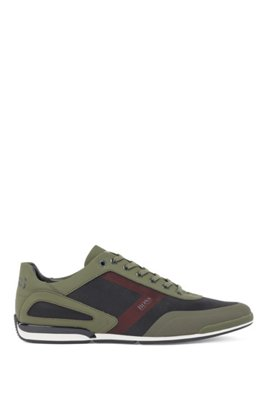 Low-top trainers in mixed materials with logo details, Light Green