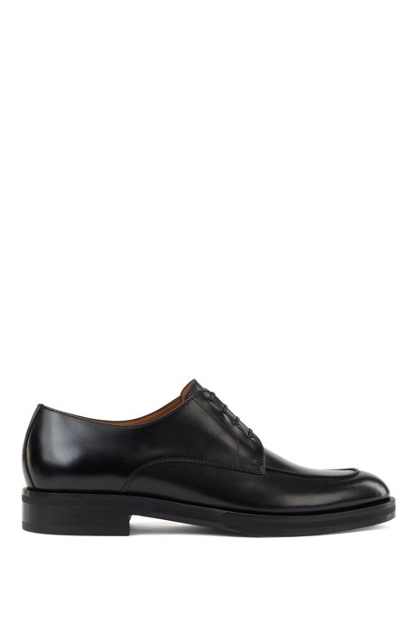 Derby shoes in smooth leather with apron toe, Black