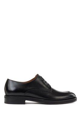 Zapatos Derby en piel lisa con pala definida, Negro