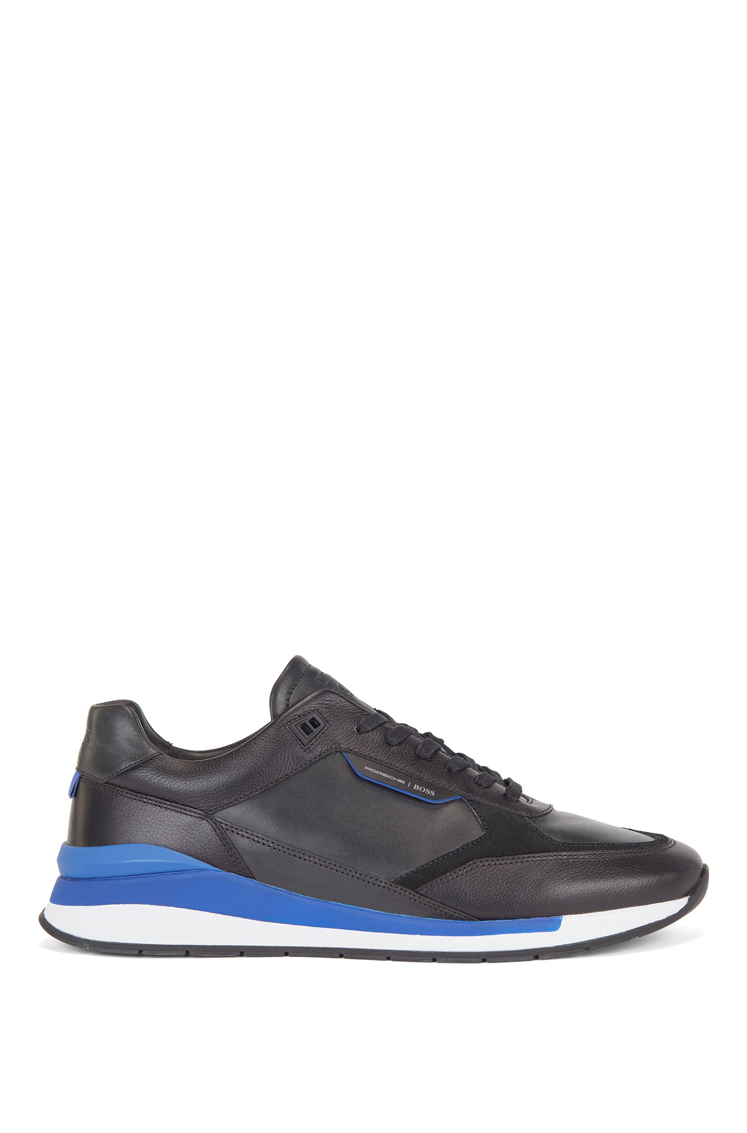 Mixed-leather trainers with exclusive branding, Black