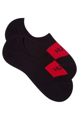 Two-pack of invisible socks with logo detail, Black