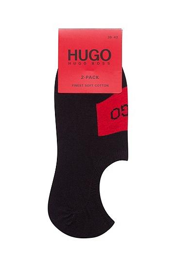 徽标细节隐形袜两双装,  001_黑色