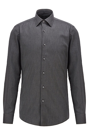 男士纯棉修身衬衫,  021_暗灰色