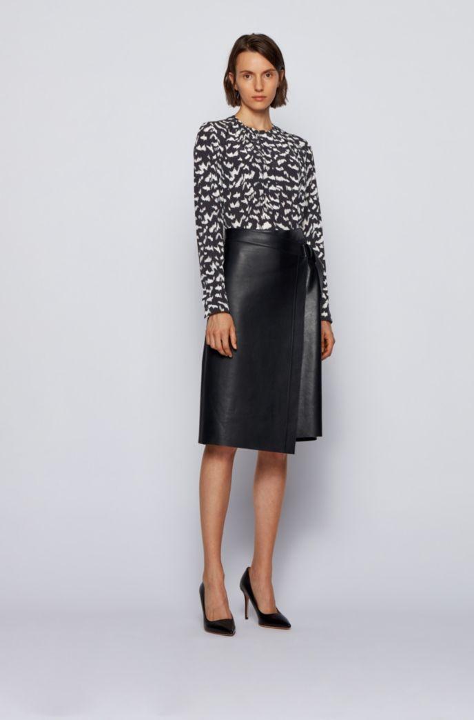 Collarless regular-fit blouse in printed silk