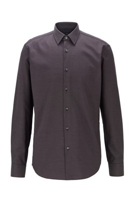 Regular-fit shirt in easy-iron cotton dobby, Black