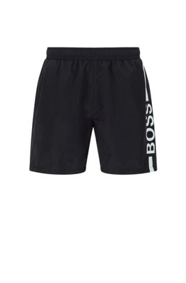 Quick-dry logo swim shorts in recycled fabric, Black