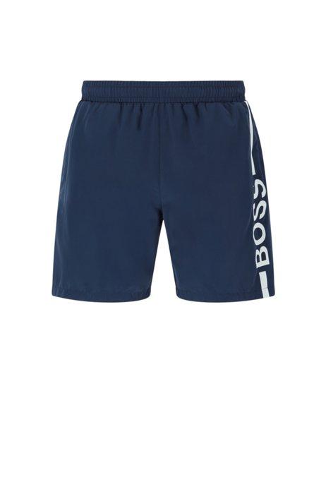 Quick-dry logo swim shorts in recycled fabric, Dark Blue