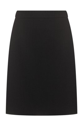 Slim-fit pencil skirt in stretch fabric, Black