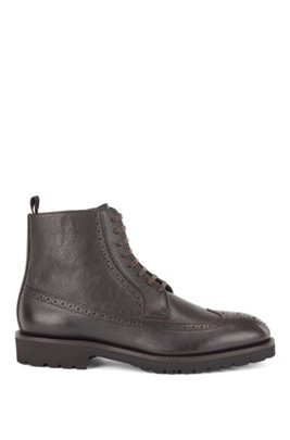 Lace-up boots in calf leather with brogue details, Dark Brown