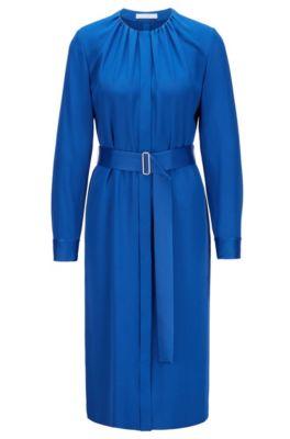 Boss Long Sleeved Belted Dress In Italian Crinkle Crepe