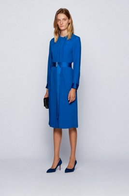 Long-sleeved belted dress in Italian crinkle crepe, Light Blue