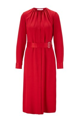 Vestido de manga larga en crepé arrugado italiano con cinturón, Rojo