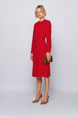 Long-sleeved belted dress in Italian crinkle crepe, Red