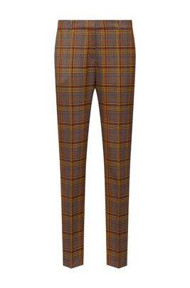 Regular-fit trousers in mixed-check fabric, Light Brown