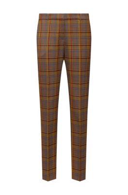 Pantalon Regular Fit en tissu à carreaux mélangés, Brun chiné