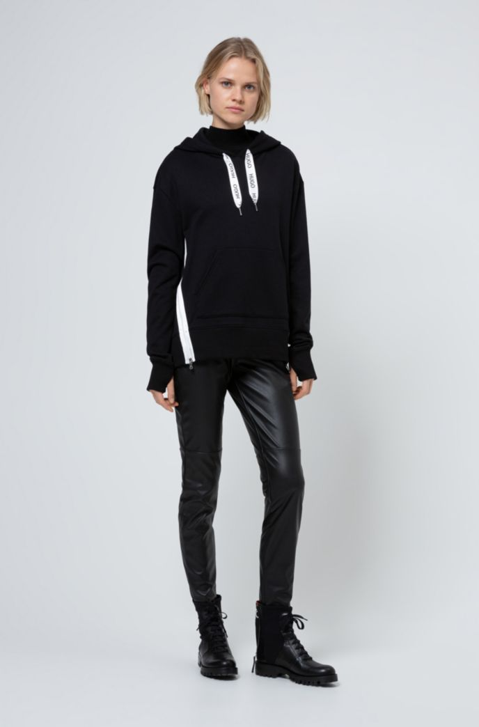 Relaxed-fit hoodie in French terry with logo drawcords