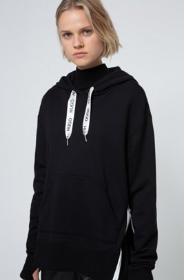 Relaxed-fit hoodie in French terry with logo drawcords, Black