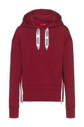 Relaxed-fit hoodie in French terry with logo drawcords, Light Red