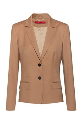 Regular-fit jacket in virgin-wool flannel with stretch, Light Brown