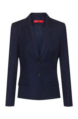Veste Regular Fit en flanelle de laine vierge stretch, bleu clair