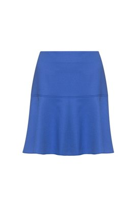 High-waisted mini skirt in stretch-virgin-wool flannel, Blue