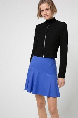Minigonna a vita alta in lana vergine-flanella elasticizzata, Blu