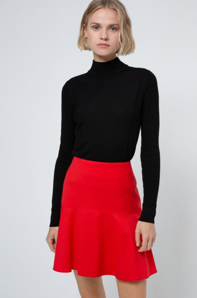 High-waisted mini skirt in stretch-virgin-wool flannel