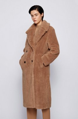 Double-breasted teddy coat with side pockets, Light Brown