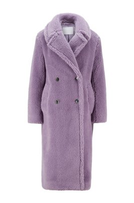 Double-breasted teddy coat with side pockets, Light Purple