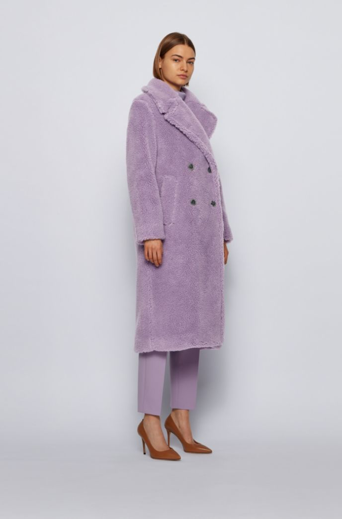 Double-breasted teddy coat with side pockets