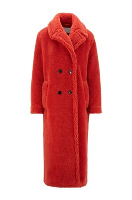 Double-breasted teddy coat with side pockets, Dark Orange