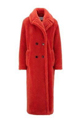 Manteau croisé en peluche, avec poches latérales, Orange foncé